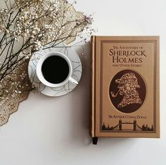book, coffee, and sherlock image