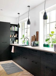 The Hidden Gem Of Home Interior Design Contemporary Kitchen Decor 29 - homev. The Hidden G Kitchen Interior, Kitchen Cabinets, Contemporary Kitchen, Green Kitchen Cabinets, House Interior, Home Kitchens, Kitchen Cabinet Colors, Kitchen Renovation, Contemporary Kitchen Decor