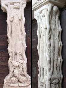 Beaulieu sur Dordogne. Le porche du côté sud de l'abbatiale. Le trumeau du portail