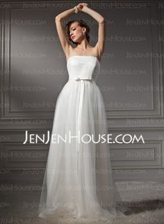 A-Line/Princess Strapless Court Train Satin Tulle Wedding Dresses With Ruffle (002011544) - JenJenHouse.com