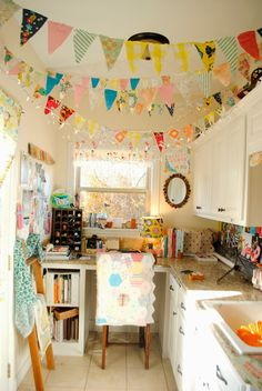 The Rosy Life: Craft Room Tour... Would liven up my basement art room