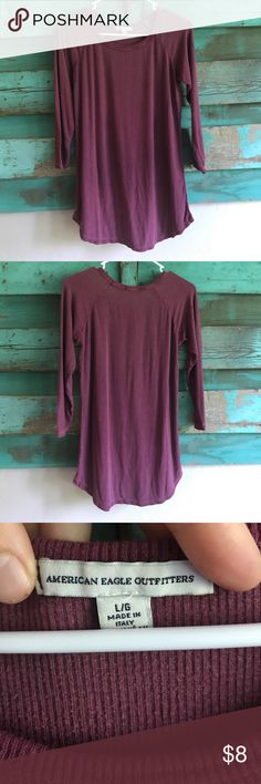 American Eagle shirt Long and super soft. Really cozy with leggings or skinny jeans. Covers the back side. Flattering scooped neck. I usually wear a small but this fits me as an oversized top. American Eagle Outfitters Tops Tees - Long Sleeve