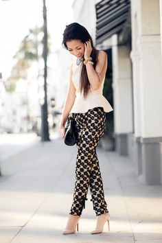 Im not a big fan of patterned pants but I love love love these especially with this peplum shirt!