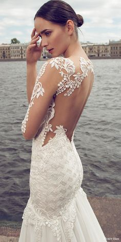 nurit hen 2016 bridal illusion long sleeves split sweetheart neckline mermaid embellished bodice sexy glam wedding dress (05) illusion back zbv