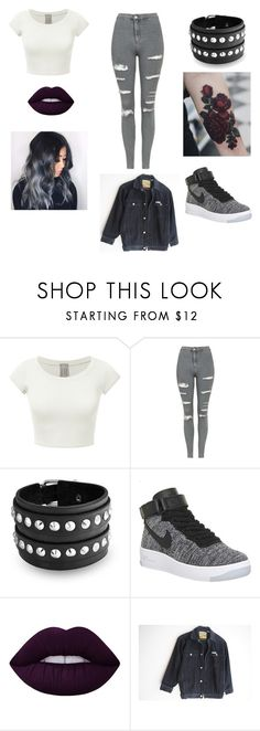 """""""Untitled #45"""" by gissellebeltre on Polyvore featuring Topshop, Bling Jewelry, NIKE, Lime Crime and GURU"""