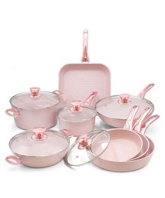Buy Bisetti Stonerose 13 Piece Aluminium Pan Set With Glass Cover Stonerose Coating Essential Metalised Rose Gold Handles Pink Kitchen Decor, Rose Gold Kitchen, Pink Home Decor, Cute Kitchen, Kitchen Items, Kitchen Gadgets, Gold Kitchen Utensils, Pastel Kitchen, Kitchen Appliances