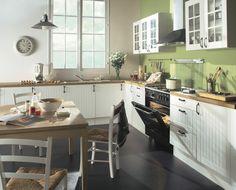 Cuisine blanche bois authentique campagne Ivory | BUT