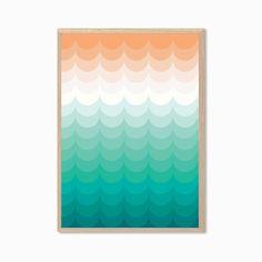 Ocean Poster : Modern Illustration Retro Cool Art Wall Decor Print A4 8 x 11 in