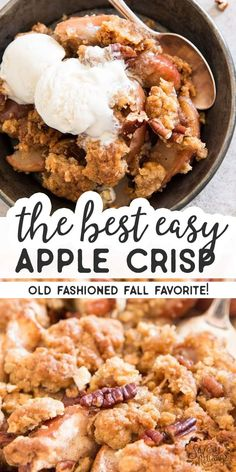 If you want to make the best quick apple crisp - your search is over. This easy recipe is absolutely foolproof and so scrumptious! The simple topping is made with butter, sugar, flour and oatmeal. The apple filling is spiced up with cinnamon and bakes up a delicious and bubbly sauce for that old fashioned feel. There's really no better homemade dessert to enjoy during fall - serve warm with vanilla ice cream. | #recipe #easyrecipes #baking #dessert #fall #applerecipes #fallrecipes…