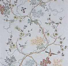 RY-2 : Handpainted Chinese all-over pattern floral design on a painted background.  One panel shown.