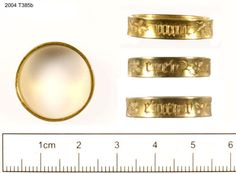 Gold ring 15th cent. 2004/T385b This ring measures 22mm in diameter and 6mm in height. It carries one inscription on its external face, which reads: mon cuer entier ('my whole heart') The repetition of the legend, combined with their respective sizes, may suggest that the two rings were originally a pair designed for a man and a woman. http://finds.org.uk/database/artefacts/record/id/78367