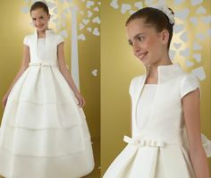 Vestido de Comunión para niñas de Miquel Suay. http://www.guiadelnino.com/en-familia/especial-primera-comunion/vestidos-de-primera-comunion-2015