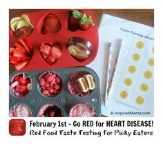 Are you participating in American Heart Association's GO RED for Heart Disease Day? Educate your kids about heart health with this fun Red Food Taste Testing Activity. Get a free printable taste test (Try New Picky Eaters) Toddler Meals, Kids Meals, Toddler Recipes, Healthy Kids, Healthy Snacks, Test For Kids, New Recipes, Snack Recipes, Picky Eaters Kids