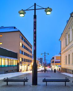 """86 tykkäystä, 1 kommenttia - Tehomet - A Valmont Company (@tehomet) Instagramissa: """"Project: Kauppakatu, Kuopio, Finland Product: Bespoke Steel Poles with integrated decorative lights…"""""""