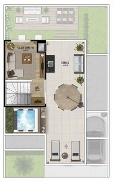 Triplex piso 3 Sims 4 House Plans, Dream House Plans, Small House Plans, Small Villa, Duplex House Design, Narrow House, Floor Layout, Sims 4 Houses, Apartment Layout