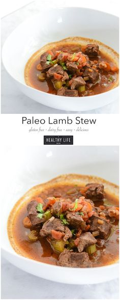 Paleo Lamb Stew is super simple to pull together and loaded with fall spices to give you a zesty, comforting, healthy, clean meal in one pot.  Gluten Free &  Dairy Free - A Healthy Life For Me