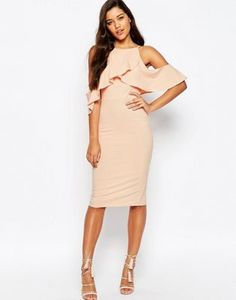 ASOS HIGH NECK COLD SHOULDER MIDI DRESS #style #trend #onlineshop #shoptagr