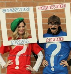 guess who homemade Halloween costume couple
