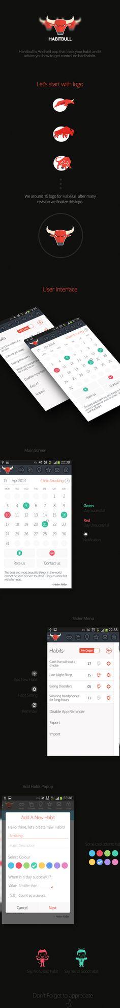 HabitBull app by Amir Vhora: beautiful #FlatDesign. Downloadable from the Google Play Store: https://play.google.com/store/apps/details?id=com.oristats.habitbull
