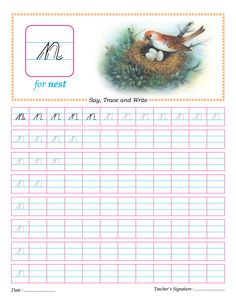 Cursive small letter n practice worksheet