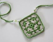 Green and Cream Granny Square Necklace