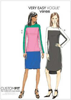 Misses Contrast Yoke Tunic, Dress and Skirt Vogue Sewing Pattern 9166.