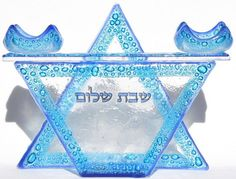 Star of David Shabbat Candles Holder Handmade