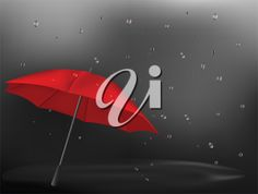 iCLIPART - Illustration of an umbrella holding off the rain on a dark Fall day