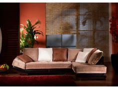 Canapé d'angle velours et cuir Bycast MEKONG - Beige et chocolat - Angle droit