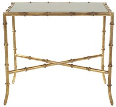 Gold Faux Bamboo Side Table - Glass Top