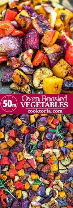 This is the easiest simplest and tastiest Oven Roasted Vegetables you'll ever try.Perfectly seasoned and colorful they are healthy and full of flavor! Roasted Vegetables Seasoning, Roasted Fall Vegetables, Roasted Veggies In Oven, Roasted Vegetable Recipes, Vegetable Seasoning, Veggie Recipes, Vegetarian Recipes, Cooking Recipes, Healthy Recipes