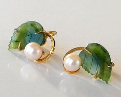 Vintage GF Pearl Earrings Carved Jade Earrings by retrogroovie