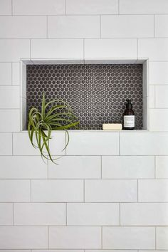 Shower niche with large subway tile and penny tile. Shower niche with large subway tile and penny tile. Shower niche with large subway tile and penny tile.<br> Shower niche with large subway tile and penny tile. Tile Shower Niche, Bathroom Niche, Bathroom Renos, Master Bathroom, Attic Bathroom, Large Tile Shower, Shower Alcove, Parisian Bathroom, Shower Tile Designs