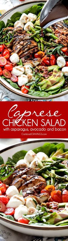 Grilled Caprese Chicken Salad with the most incredible balsamic marinated chicken, fresh tomatoes, creamy mozzarella, grilled asparagus, creamy avocado and crispy bacon all drizzled with Creamy Balsamic Reduction Dressing. Out of this world! #summersalad