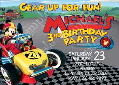 Mickey and the Roadster Racers invitation, Mickey Invitation | PapelPintadoDesigns - on ArtFire