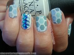 """Blue Hex Jamberry """"nail wraps following the instructions from Jamberry, and then did an accent nail using OPI My Boyfriend Scales the Wallsand 3 different coloured blue square rhinestones from Born Pretty Store."""""""