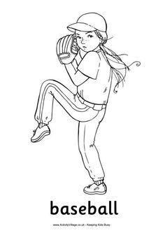 Baseball girl coloring page