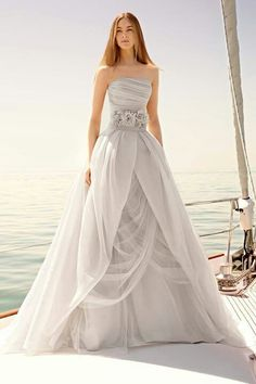 A beautiful grey/silver wedding dress.  Romantic flowing gown..