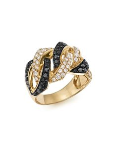 White and Black Braided Diamond Band in 14K Yellow Gold, 1.10 ct. t.w.
