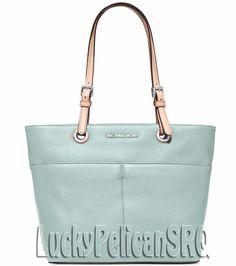 e3632f5441d8 Michael Kors Jet Set Item Top Zip Tote Bag Handbag Celedon Blue NWT # MichaelKors #