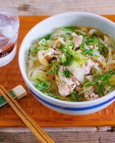 Sesame oil fragrant chicken green onion with umami salt udon Asian Cooking, Easy Cooking, Cooking Recipes, Wine Recipes, Asian Recipes, Healthy Recipes, Japanese Dishes, Japanese Food, No Cook Meals