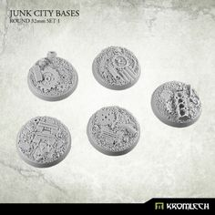 This set contains 5 round 32mm scenic bases. Junk City theme