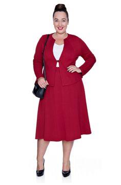 Dzianinowa czerwona spódnica z cięciami - Modne Duże Rozmiary