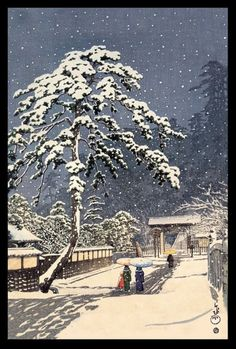"Ikegami Honmon-Ji"" (1931) woodblock print by Hasui Kawase"