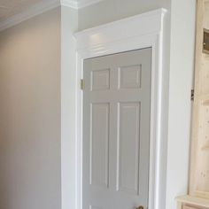 The wall color is Sherwin Williams Agreeable Gray, door color is Sherwin William. The wall color is Sherwin Williams Agreeable Gray, door color is Sherwin Williams Pussywillow. Interior Door Colors, Grey Interior Doors, Painted Interior Doors, Grey Doors, Interior Trim, Painted Doors, Interior Exterior, Best Interior, Room Interior