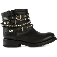 Ash Buckled Studded Biker Boots ($271) ❤ liked on Polyvore featuring shoes, boots, botas, sapatos, black, black engineer boots, moto boots, studded motorcycle boots, black boots y buckle boots