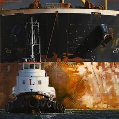 Galerie de l'Estuaire - Dirk Verdoorn Ship Drawing, Abandoned Ships, Canadian Painters, Boat Art, Watercolor Pictures, Nautical Art, Tug Boats, Traditional Paintings, Ship Art