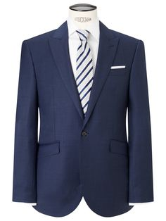 760bb8bff John Lewis Tailored Fit Sharkskin Suit Jacket, French Blue at John Lewis &  Partners