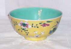 SOLD  C1918 YELLOW CHINESE BOWL ~ Hand-Painted Porcelain ~ Enamel Florals & Turquoise
