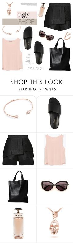 """""""Rock the Pool Slide Sandals"""" by mahora ❤ liked on Polyvore featuring Tai, E L L E R Y, Zara, London Edit, Wildfox, Prada and Merve Baal"""